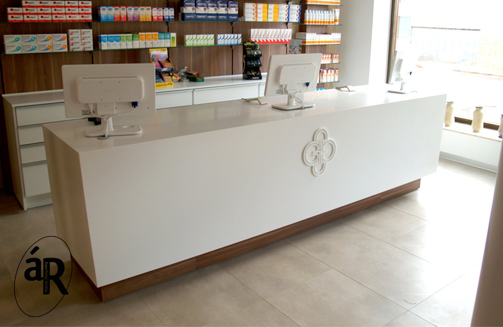 Mostrador de farmacia en Hi-macs / Pharmacy counter in Hi-macs # Ar superficies solidas
